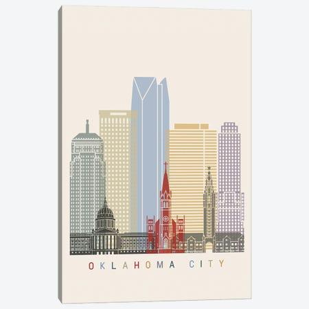 Oklahoma City Skyline Poster Canvas Print #PUR1082} by Paul Rommer Canvas Artwork