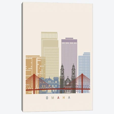 Omaha Skyline Poster Canvas Print #PUR1083} by Paul Rommer Canvas Wall Art
