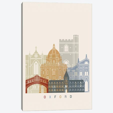 Oxford Skyline Poster Canvas Print #PUR1088} by Paul Rommer Canvas Artwork
