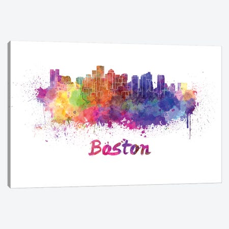 Boston Skyline In Watercolor Canvas Print #PUR108} by Paul Rommer Canvas Print