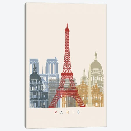 Paris Skyline Poster Canvas Print #PUR1091} by Paul Rommer Canvas Art Print