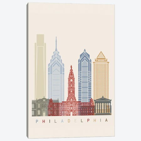 Philadelphia Skyline Poster Canvas Print #PUR1095} by Paul Rommer Canvas Wall Art