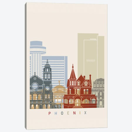 Phoenix Skyline Poster Canvas Print #PUR1097} by Paul Rommer Canvas Wall Art