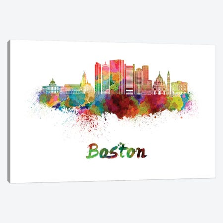 Boston Skyline In Watercolor II Canvas Print #PUR109} by Paul Rommer Art Print