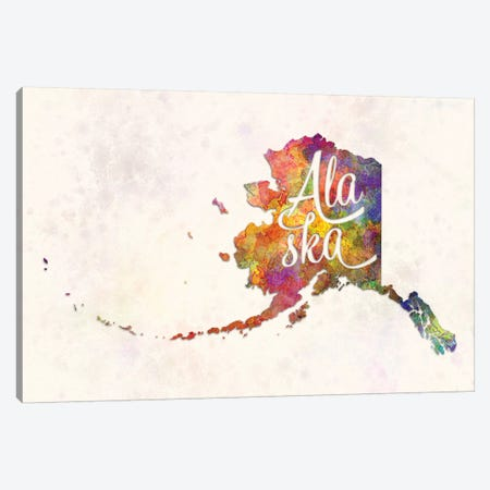 Alaska US State In Watercolor Text Cut Out 3-Piece Canvas #PUR10} by Paul Rommer Art Print