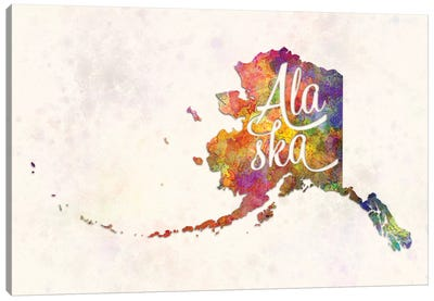 Alaska US State In Watercolor Text Cut Out Canvas Art Print