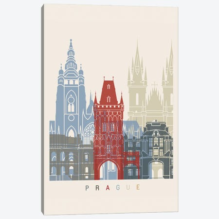 Prague Skyline Poster Canvas Print #PUR1101} by Paul Rommer Canvas Art Print