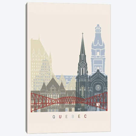 Quebec Skyline Poster Canvas Print #PUR1103} by Paul Rommer Canvas Art Print