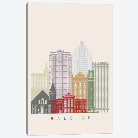 Raleigh II Skyline Poster Canvas Print #PUR1105} by Paul Rommer Canvas Artwork