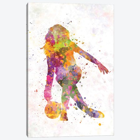 Bowling Female Silhouette Canvas Print #PUR110} by Paul Rommer Canvas Wall Art