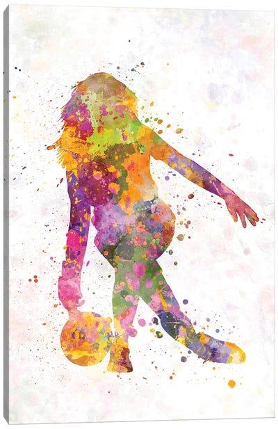 Bowling Female Silhouette Canvas Art Print