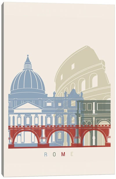 Rome Skyline Poster Canvas Art Print