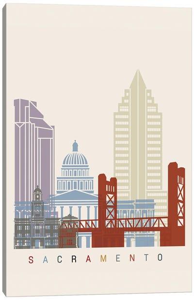 Sacramento Skyline Poster Canvas Art Print