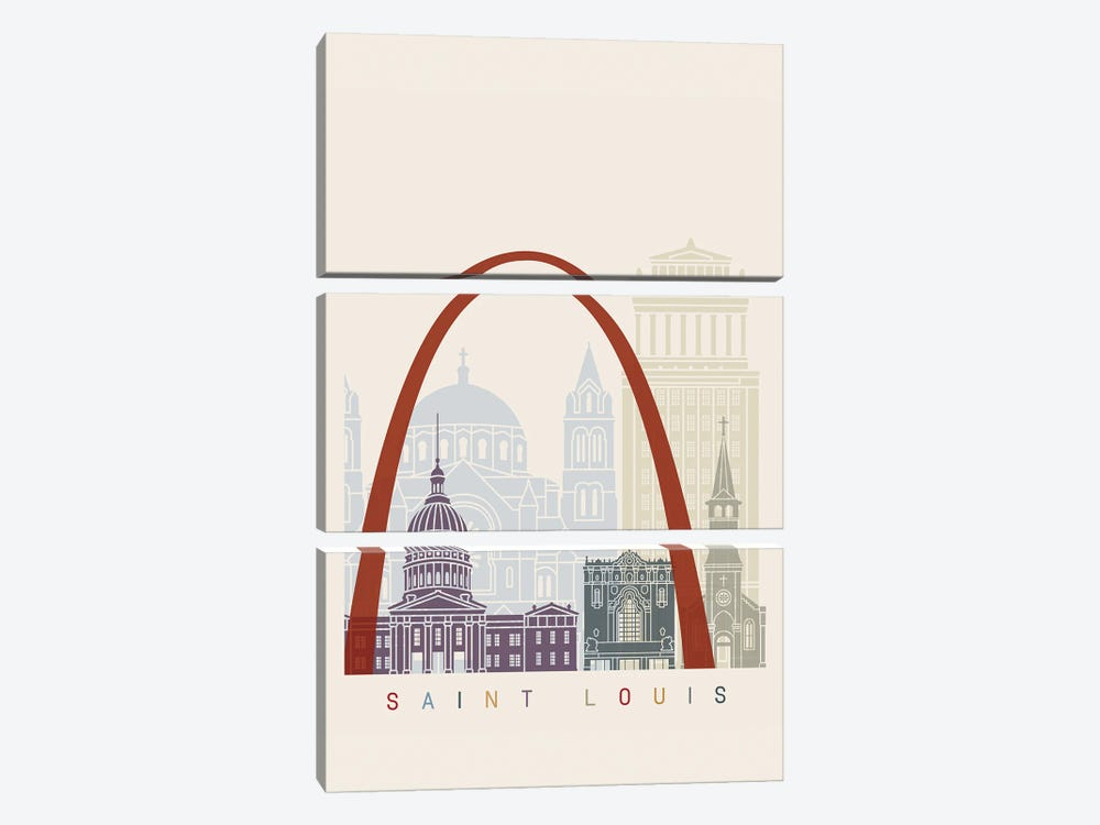 Saint Louis Skyline Poster by Paul Rommer 3-piece Canvas Art Print