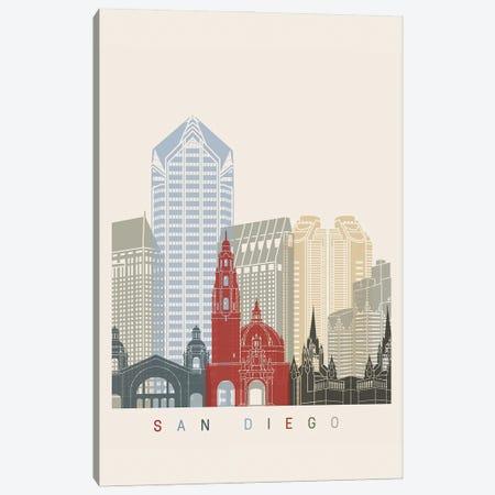 San Diego Skyline Poster Canvas Print #PUR1119} by Paul Rommer Canvas Art