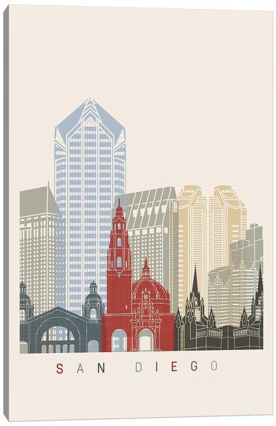 San Diego Skyline Poster Canvas Art Print