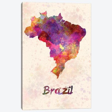 Brazil In Watercolor Canvas Print #PUR111} by Paul Rommer Canvas Wall Art