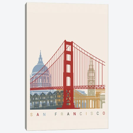San Francisco Skyline Poster Canvas Print #PUR1120} by Paul Rommer Canvas Art Print