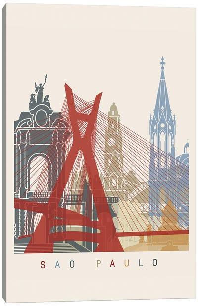 Sao Paulo Skyline Poster Canvas Art Print