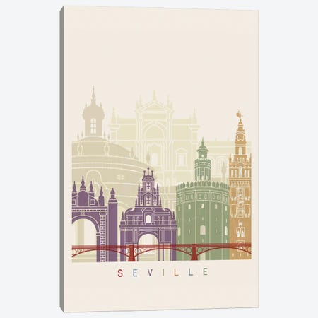 Seville II Skyline Poster Canvas Print #PUR1126} by Paul Rommer Canvas Artwork