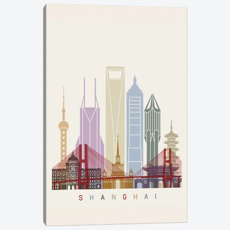 Shanghai II Skyline Poster Canvas Print #PUR1127} by Paul Rommer Canvas Wall Art