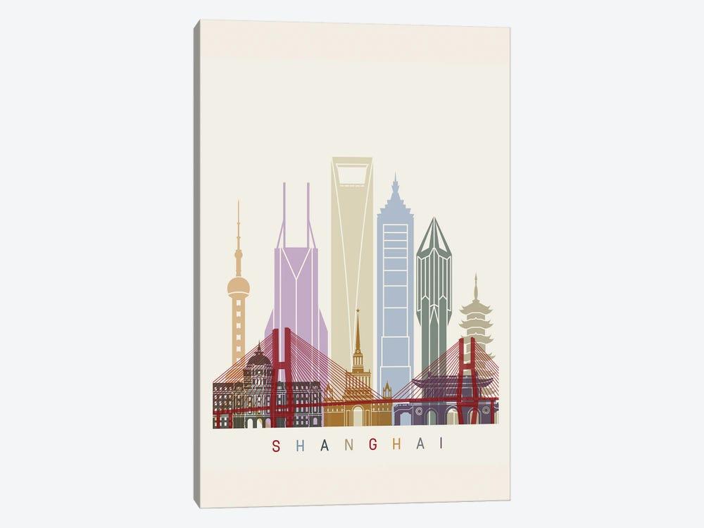 Shanghai II Skyline Poster by Paul Rommer 1-piece Canvas Wall Art