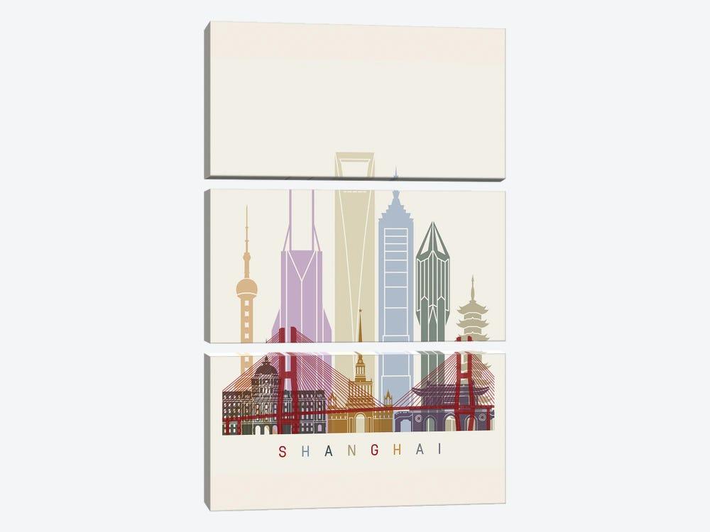 Shanghai II Skyline Poster by Paul Rommer 3-piece Canvas Artwork