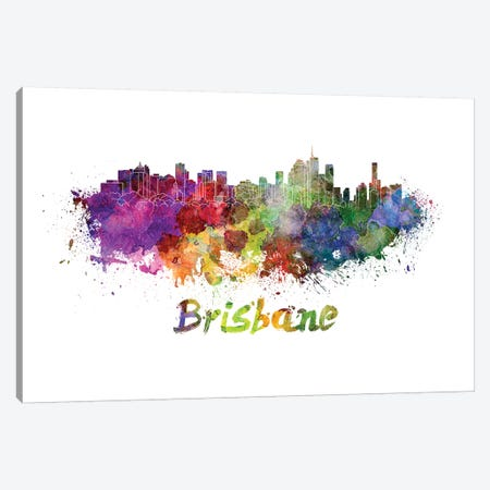 Brisbane Skyline In Watercolor Canvas Print #PUR112} by Paul Rommer Canvas Wall Art