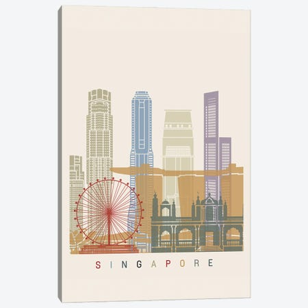 Singapore Skyline Poster II Canvas Print #PUR1130} by Paul Rommer Canvas Wall Art