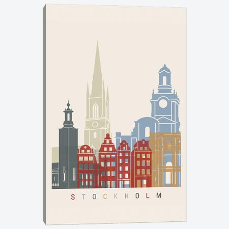 Stockholm Skyline Poster Canvas Print #PUR1133} by Paul Rommer Canvas Wall Art