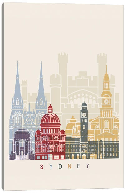 Sydney III Skyline Poster Canvas Art Print
