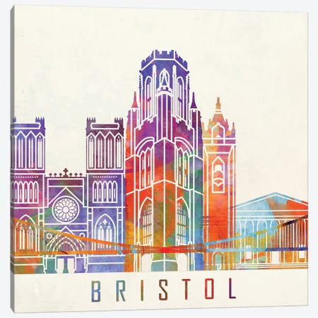 Bristol Landmarks Watercolor Poster Canvas Print #PUR113} by Paul Rommer Canvas Artwork