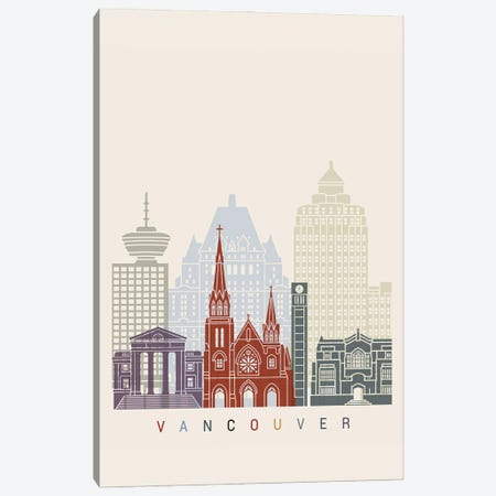 Vancouver II Skyline Poster Canvas Print #PUR1143} by Paul Rommer Canvas Art Print