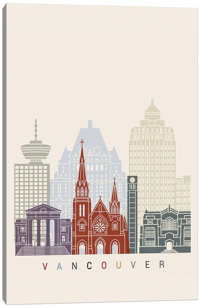 Vancouver II Skyline Poster Canvas Art Print