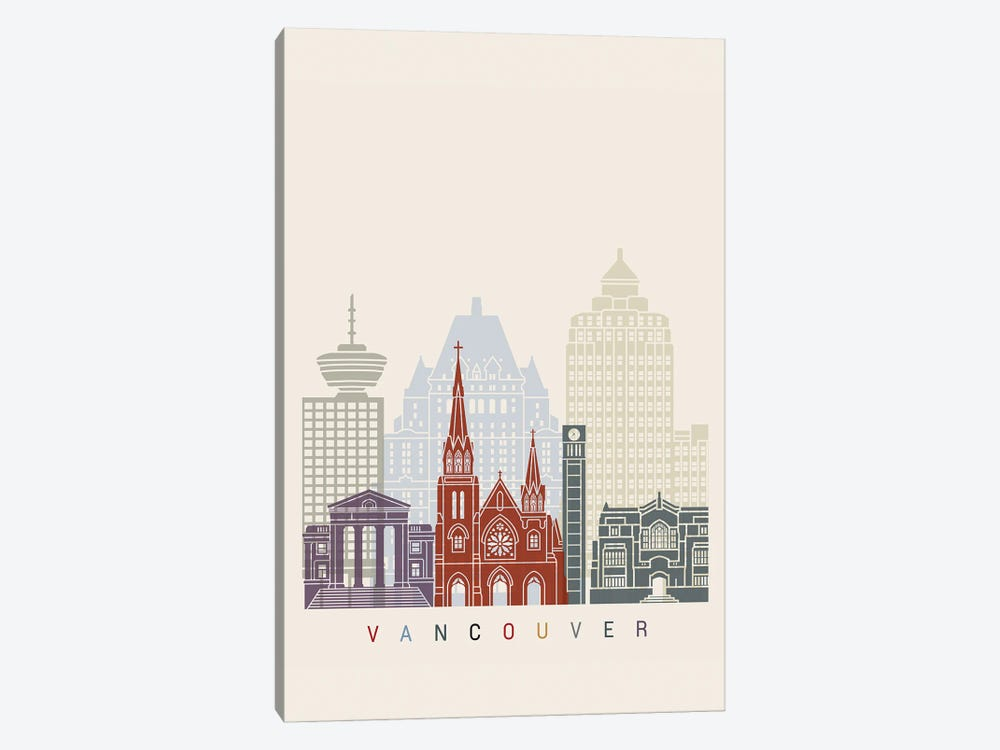 Vancouver II Skyline Poster by Paul Rommer 1-piece Canvas Artwork