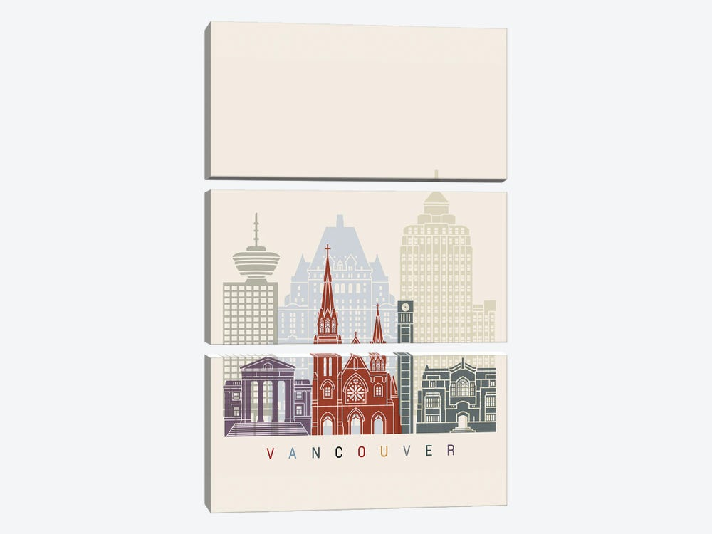 Vancouver II Skyline Poster by Paul Rommer 3-piece Canvas Artwork