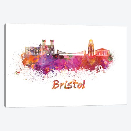 Bristol Skyline In Watercolor Canvas Print #PUR114} by Paul Rommer Art Print