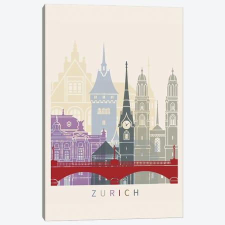 Zurich Skyline Poster Canvas Print #PUR1150} by Paul Rommer Canvas Art
