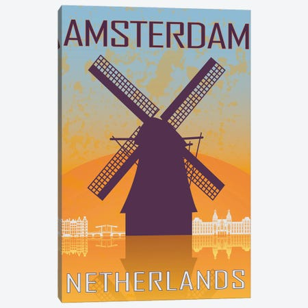 Amsterdam Vintage Poster Canvas Print #PUR1154} by Paul Rommer Canvas Print