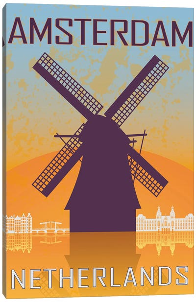 Amsterdam Vintage Poster Canvas Art Print