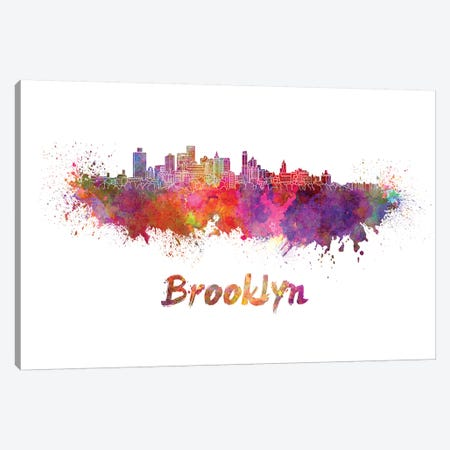 Brooklyn Skyline In Watercolor Canvas Print #PUR115} by Paul Rommer Canvas Art Print