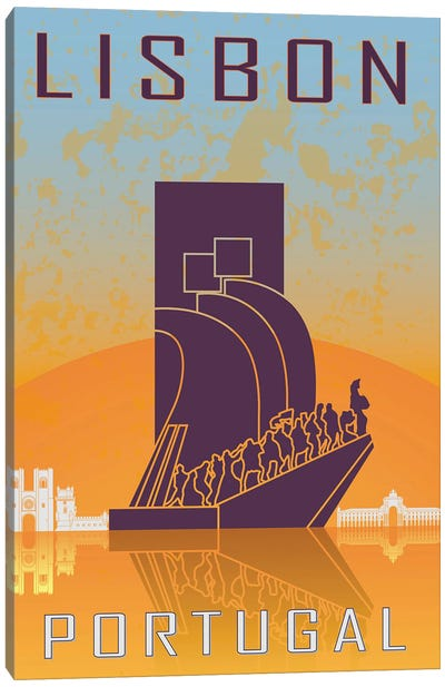 Lisbon Vintage Poster Canvas Art Print