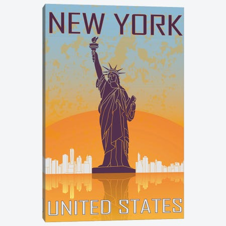 New York Vintage Poster Canvas Print #PUR1163} by Paul Rommer Canvas Art Print