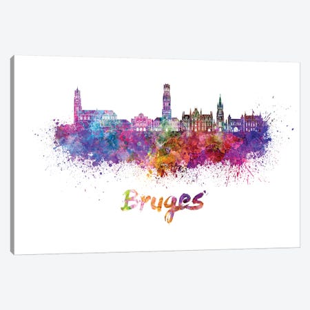 Bruges Skyline In Watercolor Canvas Print #PUR116} by Paul Rommer Art Print