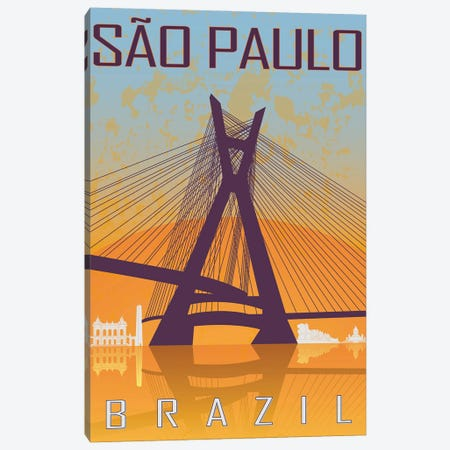 Sao Paulo Vintage Poster Canvas Print #PUR1170} by Paul Rommer Canvas Artwork
