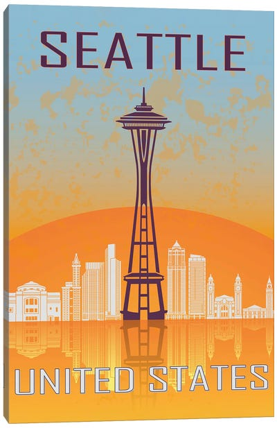 Seattle Vintage Poster Canvas Art Print