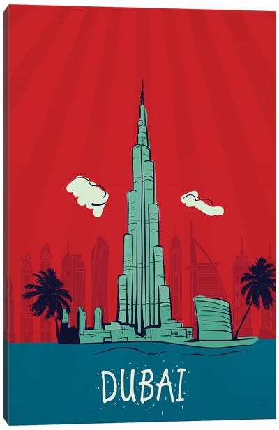 Dubai Vintage Poster Travel Canvas Art Print