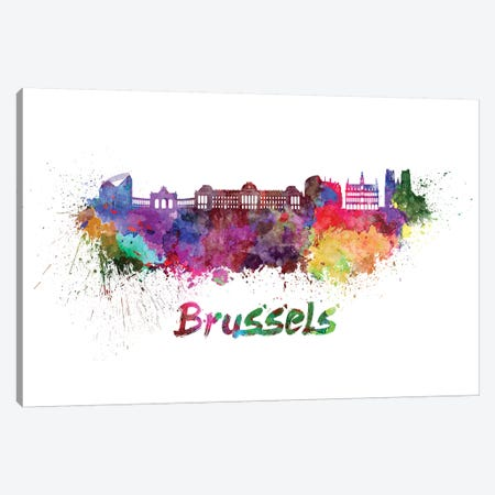 Brussels Skyline In Watercolor Canvas Print #PUR117} by Paul Rommer Canvas Art Print