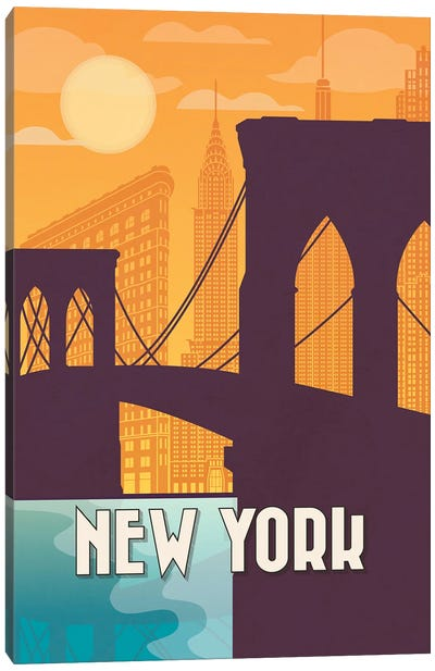 New York Vintage Poster Travel Canvas Art Print
