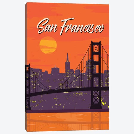 San Francisco Vintage Poster Travel Canvas Print #PUR1184} by Paul Rommer Canvas Wall Art